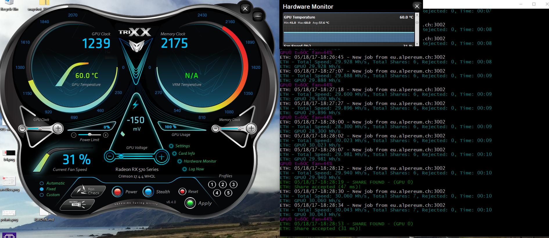 Overclocking Sapphire NITRO+RX570 for Ethereum Mining