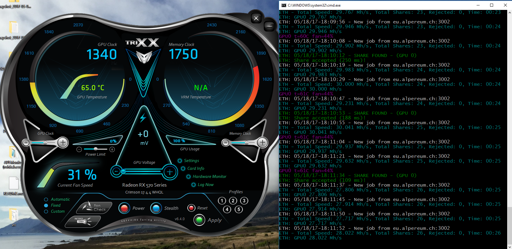 Overclocking Sapphire NITRO+RX570 for Ethereum Mining